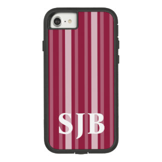 Raspberry Victorian Stripe with Monogram Case-Mate Tough Extreme iPhone 8/7 Case