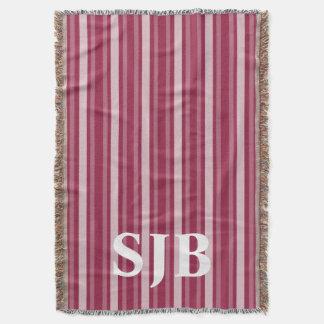 Raspberry Victorian Stripe with Monogram Throw Blanket