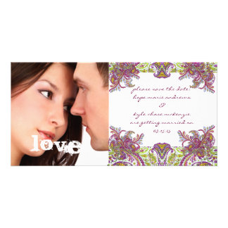 Raspberry Vintage Floral Save The Date Photo Card