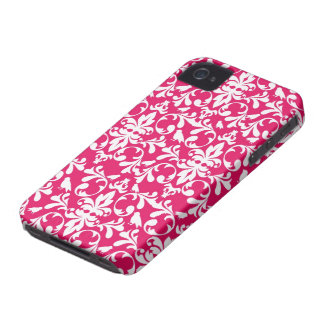 raspberry white bird damask iPhone 4 case