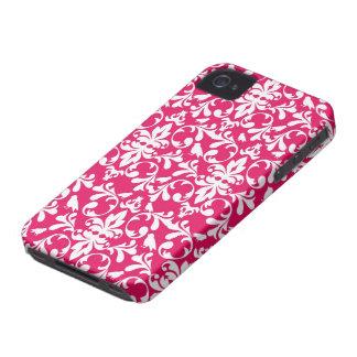 raspberry white bird damask iPhone 4 Case-Mate case