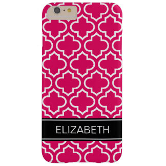 Raspberry White Moroccan #6 Black Name Monogram Barely There iPhone 6 Plus Case