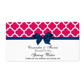 Raspberry White Moroccan Navy Bow Water Label Shipping Label