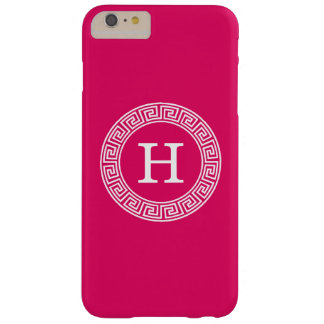 Raspberry Wht Greek Key Rnd Frame Initial Monogram Barely There iPhone 6 Plus Case