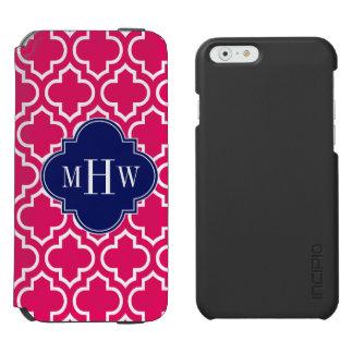 Raspberry Wht Moroccan #6 Navy 3 Initial Monogram Incipio Watson™ iPhone 6 Wallet Case
