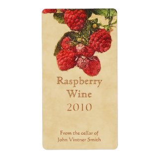 Raspberry wine bottle label