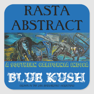RASTA ABSTRACT BLUE KUSH SQUARE STICKER