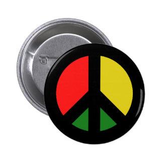 Rasta Ban the Bomb CND Peace Symbol 2 Inch Round Button