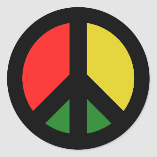 Rasta Ban the Bomb CND Peace Symbol Round Sticker