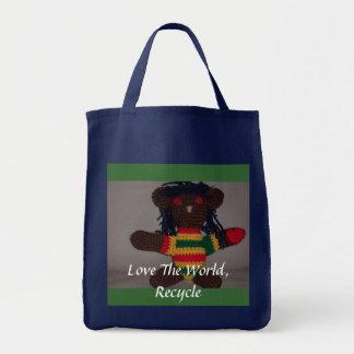 Rasta  Bear, one love 2, Love The Worl... Tote Bag