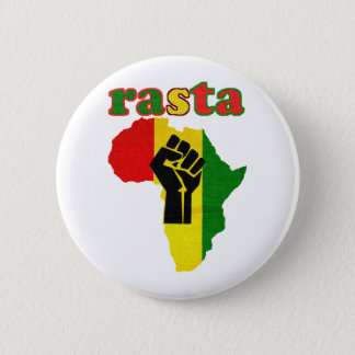 Rasta Black Power Fist over Africa 2 Inch Round Button
