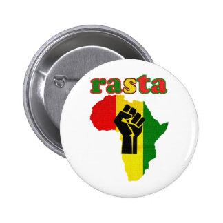 Rasta Black Power Fist over Africa 2 Inch Round Button