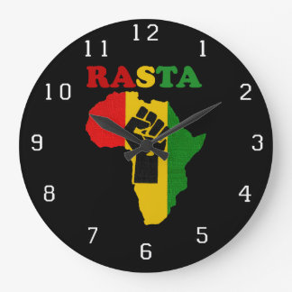 Rasta Black Power Fist over Africa. Large Clock