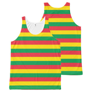 Rasta Colors Green Yellow Red Stripes Flag Pattern All-Over-Print Tank Top