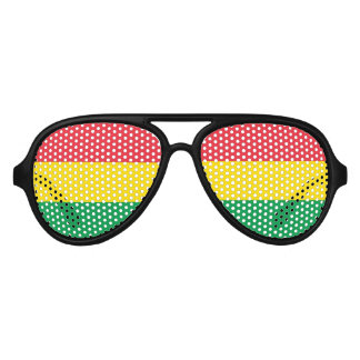 Rasta Colors Green Yellow Red Stripes Flag Pattern Aviator Sunglasses