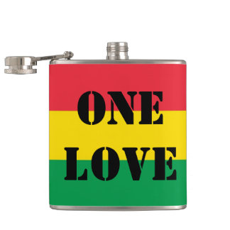 Rasta Colors Green Yellow Red Stripes Flag Pattern Flask
