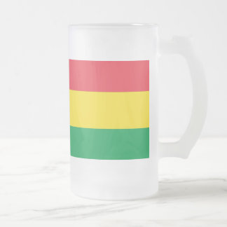 Rasta Colors Green Yellow Red Stripes Flag Pattern Frosted Glass Beer Mug