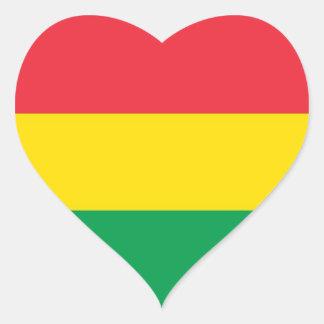 Rasta Colors Green Yellow Red Stripes Flag Pattern Heart Sticker