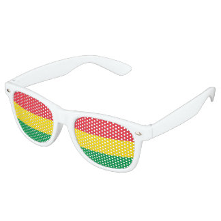 Rasta Colors Green Yellow Red Stripes Flag Pattern Retro Sunglasses
