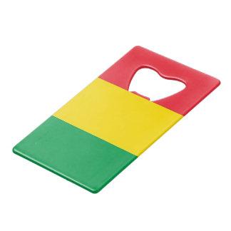 Rasta Colors Green Yellow Red Stripes Flag Pattern Wallet Bottle Opener