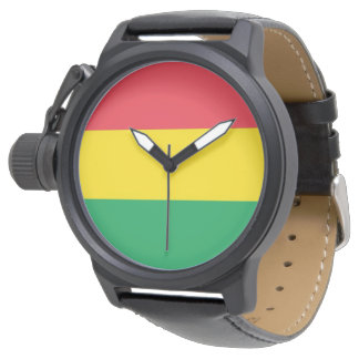 Rasta Colors Green Yellow Red Stripes Flag Pattern Watch