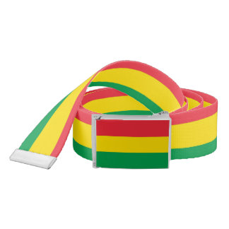 Rasta Colors Green Yellow Red Stripes Pattern Belt