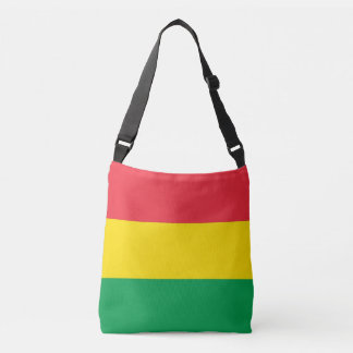 Rasta Colors Green Yellow Red Stripes Pattern Crossbody Bag
