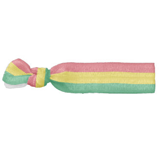 Rasta Colors Green Yellow Red Stripes Pattern Hair Tie
