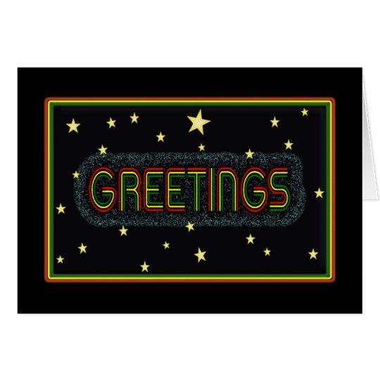 Rasta Colour Bold text 'Greetings' card