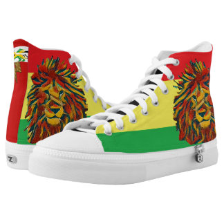 Rasta colour lion red high tops