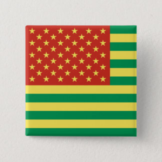 Rasta Flag US Badge 2 Inch Square Button