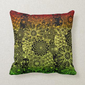 Rasta Flower Throw Pillow