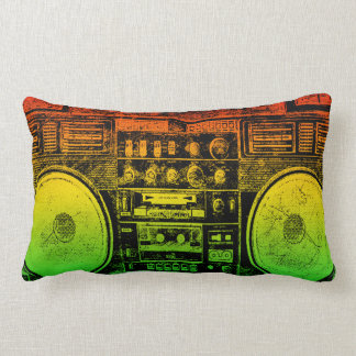 Rasta ghetto blaster lumbar pillow