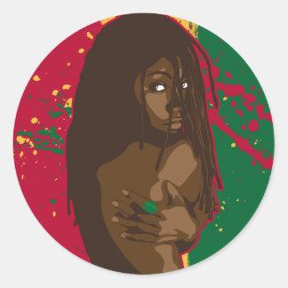 Rasta Girl Classic Round Sticker