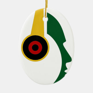Rasta Headphone Silhouette Face Ceramic Ornament