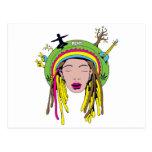 rasta hippie babe post cards