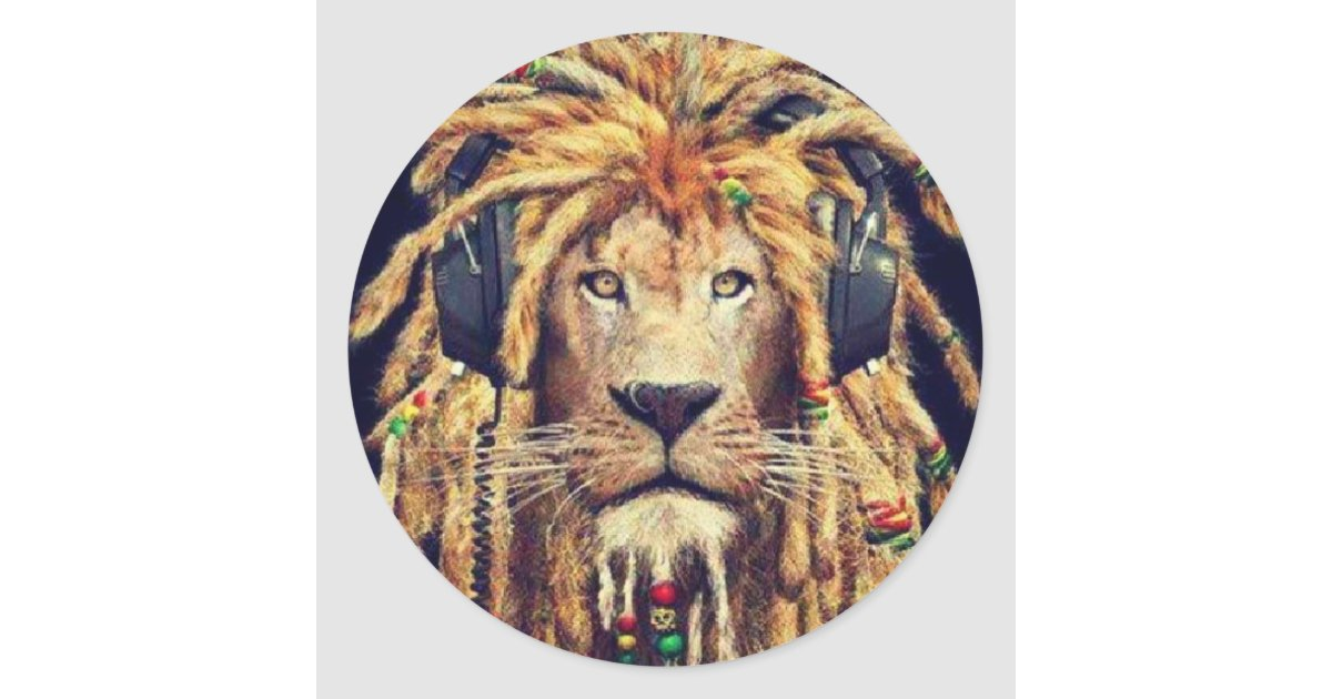 Rasta lion classic round sticker zazzle ca