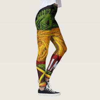 Rasta Lion of Judah Leggings with Jamaican Flag