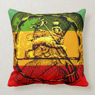 Rasta Lion of Judah Red Gold Green Throw Pillow