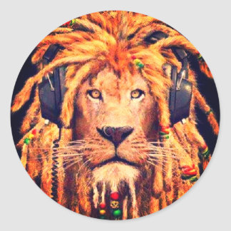 Rasta Lion Round Sticker