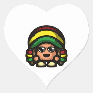 Rasta Mushroom Heart Sticker