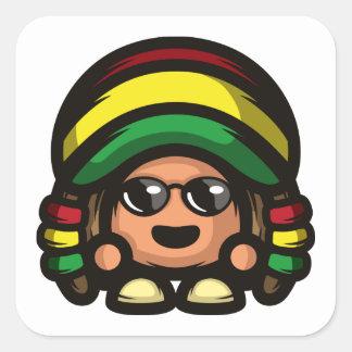 Rasta Mushroom Square Sticker