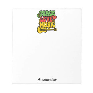 Rasta Peace Love and Music Notepad
