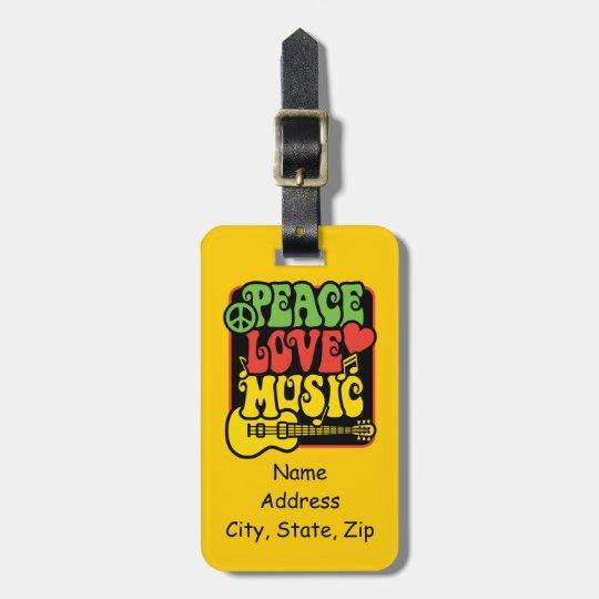 Rasta Peace Love Music Bag Tag