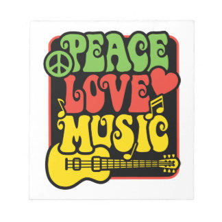 Rasta Peace Love Music Notepads