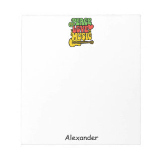 Rasta  Peace-Love-Music Notepads