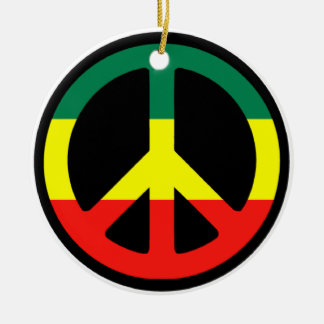 Rasta Peace Sign Christmas Ceramic Ornament