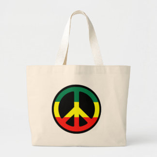 Rasta peace symbol large tote bag