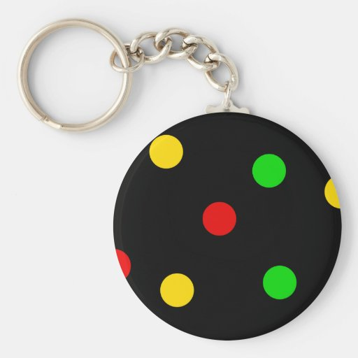 Rasta Polka Dots on Black Keychain