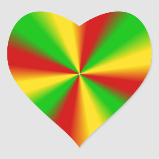 Rasta Rays Green Yellow and Red Heart Sticker
